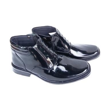 Mandien's PDH R-03 Polri TNI Kilap Sepatu Boots Pria - Hitam