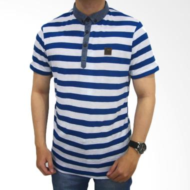 Shopggiztresco Polo Shirt PS-0027 Collar Body Salur Grey - White
