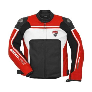 Ducati Corse 14 Leather Man Perforated Jaket Motor - Red White