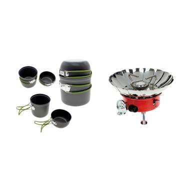 OEM DS-201 Ultralight Kompor Windproof Portable Cooking Set Outdoor