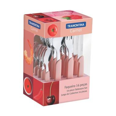 Tramontina Carmel Table Set Peralatan Makan - Pink [16 pcs]