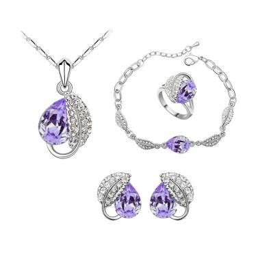 Cannice Austrian Crystal Heart Leaf Set Perhiasaan - Violet