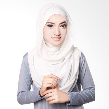Cotton Bee Hoodie Channel Instan Including Inner Hijab - White