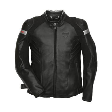 Ducati Dark Armour Perforated Leather Man Jaket Motor - Black