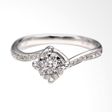 Tiaria DJXJZ043 Perhiasan Emas Cincin Emas Putih 9K with Zircon
