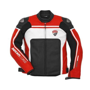 Ducati Corse C2 Leather Man Perforated Jaket Motor - Red White