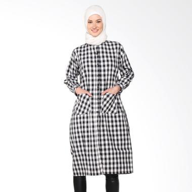 Chick Shop 2 CO-34a-02-H Simple Checkered Long Shirt Muslim - Black