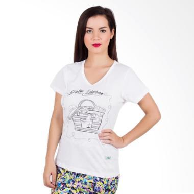 Palm Lagoon Palm Holiday Beach Tee T-Shirt Wanita - White