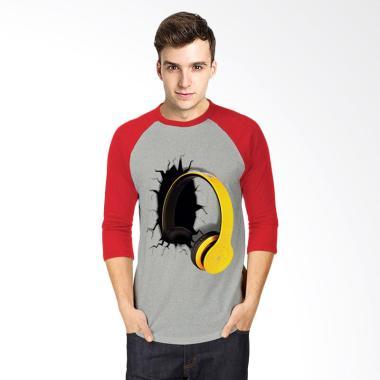 T-Shirt Glory 3D Airphone Drag Kaos Raglan - Abu Merah