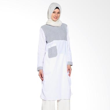 Chick Shop Unique Plain CO-78a-03-BP Dress Moslem - Blue White
