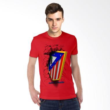 T-Shirt Glory Kaos 3D Atletico Madrid Elegant Kaos Pria - Merah