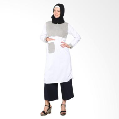 Chick Shop Unique Plain CO-78a-01-HP Dress Moslem - Black White