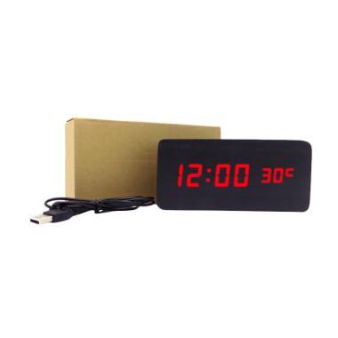Wooden Digital Clock LED Merah Jam Kayu Digital Besar - Hitam