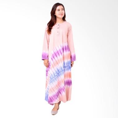 Batik Distro BA8006 Longdress Wanita Combed Panjang - Pink