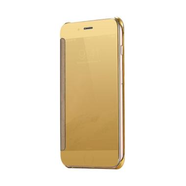 Wallet Mirror View Flip Cover Casing for Oppo A39 New - Gold