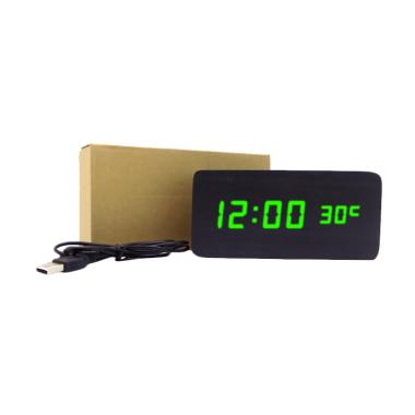 Wooden Digital Clock LED Hijau Jam Kayu Digital Besar - Hitam