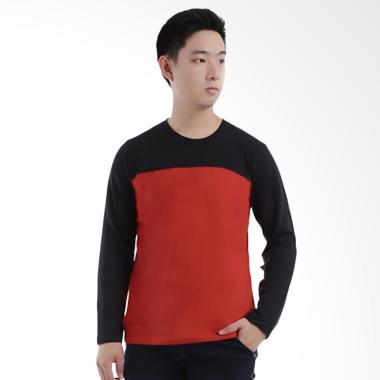 Elfs Shop 65D16 Terry Half Kaos Lengan Panjang - Hitam Merah Cabe