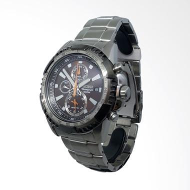 Seiko Chronograph Tali Rantai Jam Tangan Pria - Hitam Silver 151291