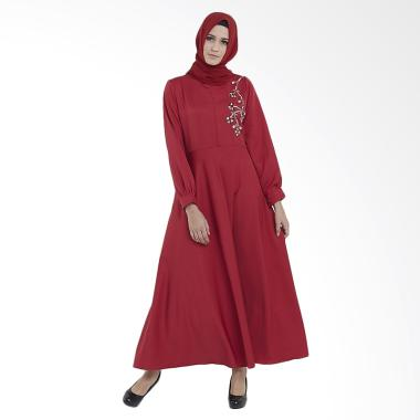 Zayani Signature Marwah Long Dress Muslim Wanita - Merah