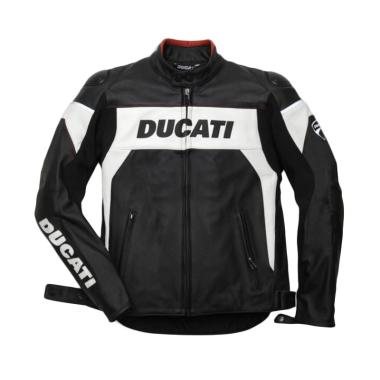 Ducati Hi Tech 13 Leather Man Perforated Jaket Motor - Black White