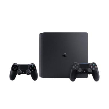 Sony PS4 Slim + 2 Wireless Controller Set Game Console - Black