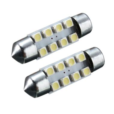 JMS 8 SMD 1210-3528 39mm Lampu LED Mobil For Kabin Or Plafon - White [1 Pair/2 Pcs]