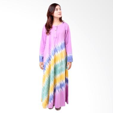 Batik Distro BA8003 Longdress Wanita Combed Panjang - Ungu