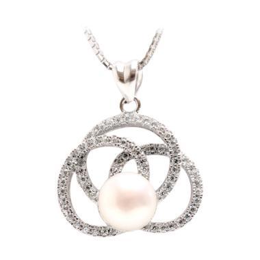 Royale Jewel WGP 106A Kalung Perak Emas Putih dan Mutiara Asli