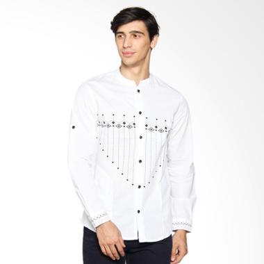 Cardinal Jeans Kemeja Koko Slim Fit - Putih Print CAHX010.08A
