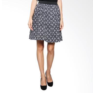 Karya Batik Flowy Skirt Rubber FSR Kawung - Black White