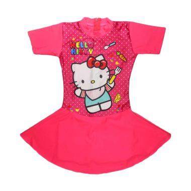 Nice ABG Motif Hello Kitty Polka Baju Renang Rok Anak - Peach