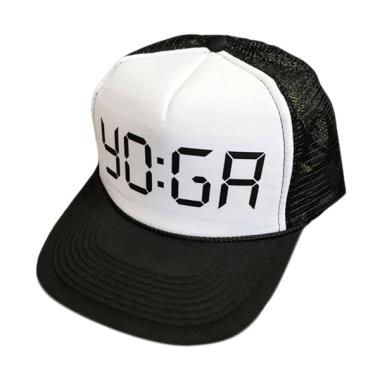 JersiClothing Mesh Trucker Yoga Topi - Black White