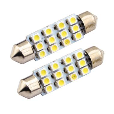 JMS 12 SMD 1210 Lampu LED Mobil Kabin Plafon Festoon - White [1 Pair/2 Pcs/41mm]