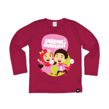 Afrakids AF147 Sharing Is Wonderfull Kaos Anak Muslim - Magenta