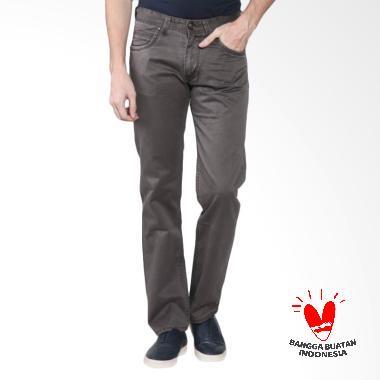 Hugo Gold Chino Reguler Fit Premium Celana Panjang Pria - Abu