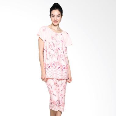 Felancy 078-PA1011 Print Flower Sleepwear Baju Tidur - Rosy Pink