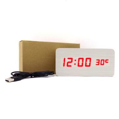 Wooden Digital Clock LED Merah Jam Kayu Digital Besar - Putih