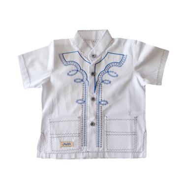 Rafifa Koko Pendek Bordir Model B Baju Koko Anak - White Blue
