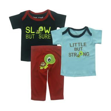 Bearhug Kura Slow But Sure Set Pakaian Bayi Laki-laki - Navy [3 Pcs]