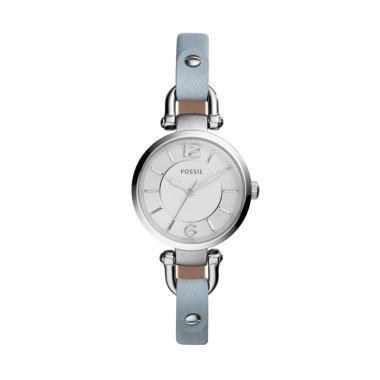FOSSIL Georgia Leather ES3822 Jam Tangan Wanita - Silver Blue
