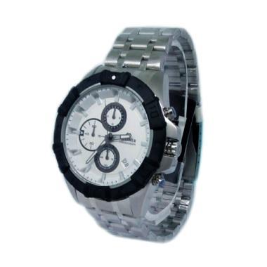 ... Hegner 600190 A Chronograph Tali Rantai Jam Tangan Pria Silver Hitam