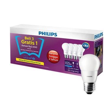 PHILIPS Bohlam Lampu LED - Putih [10.5 W/Beli 3 Gratis 1]