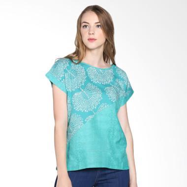 Blossom ACT Asymmetrical Tosca Floral Batik Blouse - Tosca