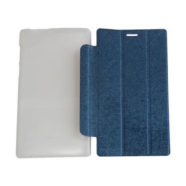 QCF Leather Bookcover Flip Cover Ca ... vo Tab 2 A7-10 - Biru Tua