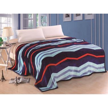 Lucky Blanket Motif Zig Zag Selimut Bulu - Biru [180 x 200 cm]