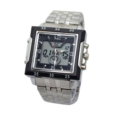 Swiss Army SA 6568 Dual Time Jam Tangan Pria - Silver Black