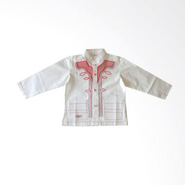 Rafifa Koko Panjang Model A Bordir Merah Baju Koko Anak - Putih Gading