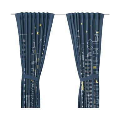 Ikea R Hemmahos Curtains with Tie-b ... lue [120 x 250 cm/1 pair]