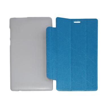 QCF Leather Bookcover Flip Cover Ca ... o Tab 2 A7-10 - Biru Muda