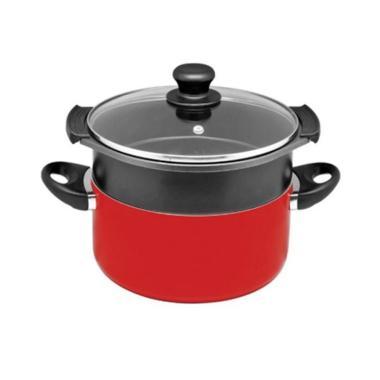 Maxim Valentino Dutch Anti Lengket Oven Set Steamer - Merah [24 cm]